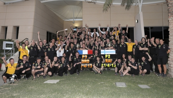 Lotus celebrating in Bahrain - Photo: Lotus F1