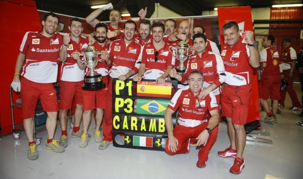 Ferrari celebrating Alonso's win - Photo: Ferrari