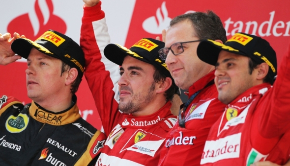 Winner Alonso with Raikkonen and Massa - Photo: Pirelli